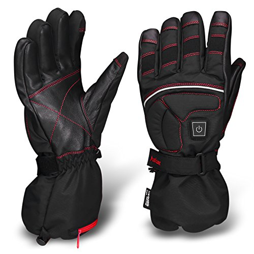 Antizer Heated Motorcycle Gloves Include Black and Red color, 12V Rechargeable 2500mA Battery (Small) (Battery Powered Glove Liners compare prices)