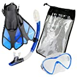 Seavenger Diving Snorkel Set- Dry Top Snorkel / Trek Fin / Single Len Mask / Gear bag- Blue - Large/X-Large