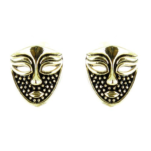 Black On Gold Plated Small Masquerade Earrings front-674092