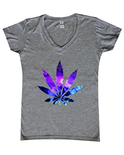 Shop4Ever-Marijuana-Leaf-GALAXY-Womens-V-Neck-T-shirt-Weed-Smokers-Shirts-SLIM-FIT