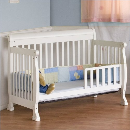 DaVinci Kalani 4-in-1 Convertible Wood Crib Nursery Set w/ Toddler Rail in White
