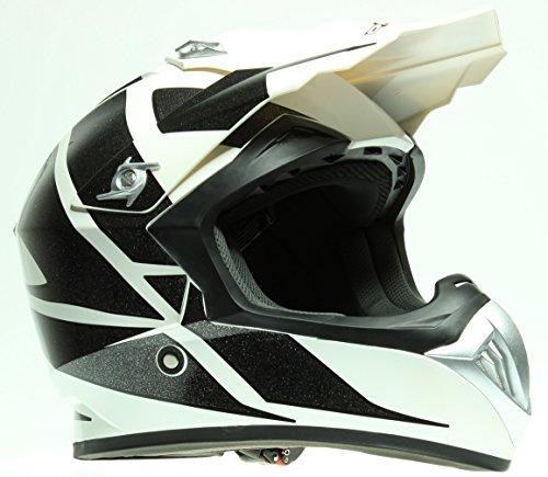 ROKX Motorrad-Helm CROSS schwarz und weiß BRILLIANT