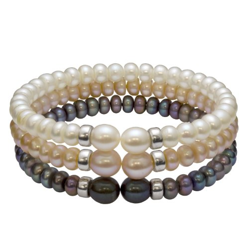 3, Freshwater Pearl Rondel Bracelets Set with Sterling Silver - white, peach, and black pearls