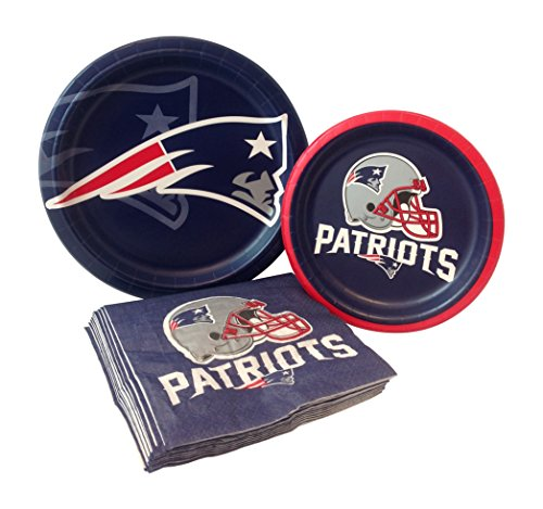 New England Patriots Football Paper Plates & Napkins for 8