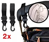 2x Black Adjustable Pram Clips BUGGY BAG HOOKS/Clips Fit Bugaboo, Phil+Teds,Quinny