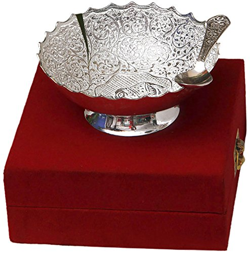 Jaipur Ace Silver Plated Elephant Carving Brass Bowl With Spoon (Abs00008 )