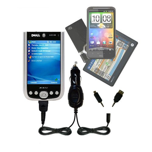 Gomadic Dual Dc Vehicle Auto Mini Charger Designed For The Dell Axim X51V - Uses Gomadic Tipexchange To Charge Multiple Devices In Your Car