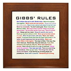 CafePress NCIS Gibbs' Rules Framed Tile - Standard Multi-color [Kitchen & Home]