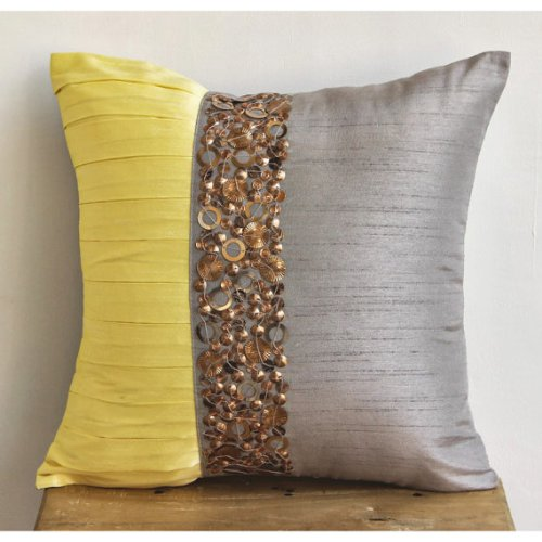 Yellow Treasures - 16X16 Inches Square Decorative Throw Light Grey Silk Pillow Covers With Pintucks And Metal Sequins front-467809