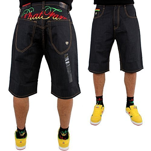 phat-farm-rasta-script-baggy-japan-raw-denim-jeans-shorts-raw-denim-w30
