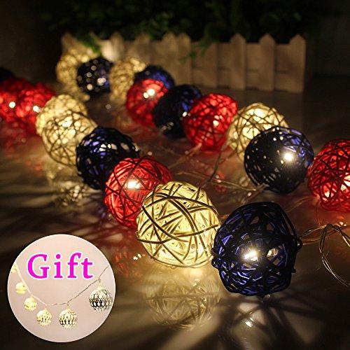 Goodia Batteriebetriebene 2.2M LED Lichterkette mit 20 warmweiße LED - Ideal Hochzeit, Weihnachten & Party String Lights (Geschenk: 10 Sliver / Goldene marokkanischen Orb Batteriebetriebene LED Lichterkette)
