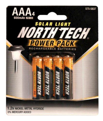 Solar Outdoor Lights No Batteries: Solar Light Rechargeable Batteries, Power Pack Of 4 AAA 1