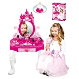 Kiddie Play Little Princess Vanity Table and Chair Beauty Play Set with Fashion & Makeup Accessories