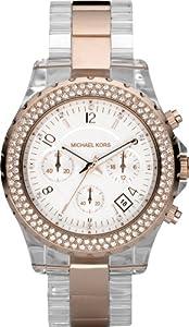 Michael Kors Women's MK5323 Chronograph White Swarovski Crystal Clear Plastic & Rose Gold Tone Watch