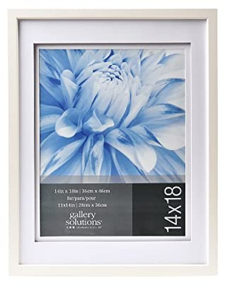 Gallery Solutions Airfloat Photo Frame with 14 by 18-Inch Matted Opening to Display 11 by 14-Inch Photo, White
