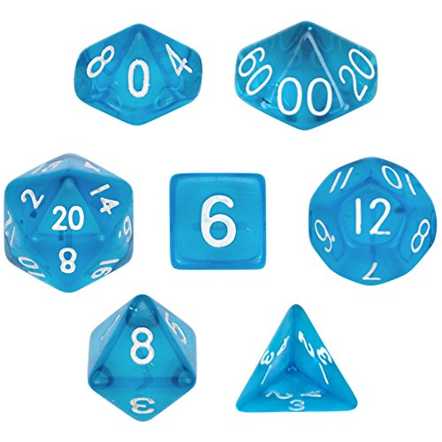 7 Die Polyhedral Dice Set - Translucent Blue with Velvet Pouch By Wiz Dice
