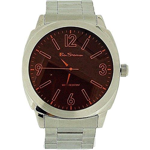 Ben Sherman Gents Orange Dial Silver Tone Metal Bracelet Strap Dress Watch BS038