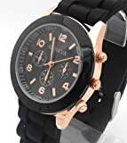 Black Geneva Ladies/Girls Silicone Watch. Decorative 3 Eyes. 16-22cm Strap. 4cm Dial