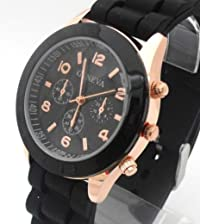 Black Geneva Ladies/Girls Silicone Watch. Decorative 3 Eyes. 16-22cm Strap. 4cm Dial