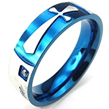 buy Bishilin Stainless Steel Fashion Men'S Rings Cz Love Cross Blue Gold Size 11
