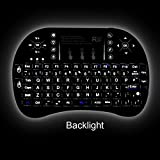 Rii ® i8+ Updated 2015 with Backlit 2.4GHz Mini Mobile illuminated Backlit Wireless Mini Keyboard with Touchpad Mouse,Rechargable Li-ion Battery and Comfortable Silicone Back Cover for HTPC, Smart TV, and TV Box with Android systems, Sony Playstation, Windows 2000, XP, VISTA, CE, 7, 8, Linux, and Android OS with Wireless USB Receiver Included(Black Color)
