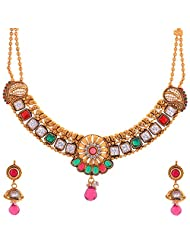 New Amrit Jewellers Gold Plated 1 Grams Antic Stones Necklace For Women - B00QX3BIBI