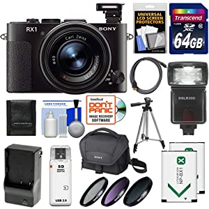Sony Cyber-Shot DSC-RX1 Full-Frame Digital Camera (Black) with 64GB Card + 2 Batteries + Charger + Case + Flash + 3 Filters + Tripod + Accessory Kit