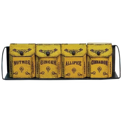 """CWI Gifts Four Vintage Country Spice Bins Canisters with Metal Rack, 3.25"""" x 11.75"""""""