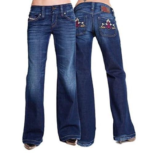 Ladies Dark Blue Jeans DIESEL Lambry (Wash0089W) Distressed Flared Low Rise