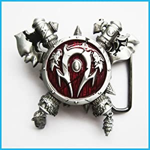 Red WORLD OF WARCRAFT AXES AND SHIELD BELT Buckle CA-073RD