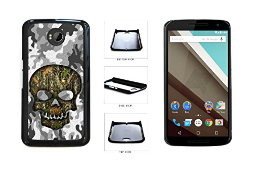 Human Skull With Camo Pattern Background Plastic Phone Case Back Cover For LG Google Nexus 6 D821 comes with Security Tag and myPhone Designs(TM) Cleaning Cloth