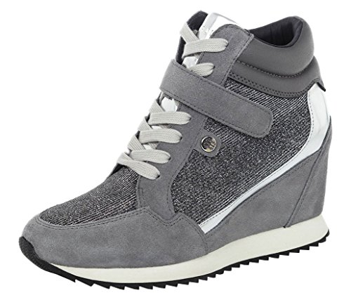 TOMMY HILFIGER Running Wedge 1C1 sneakers PELLE SILVER FW56821691 40