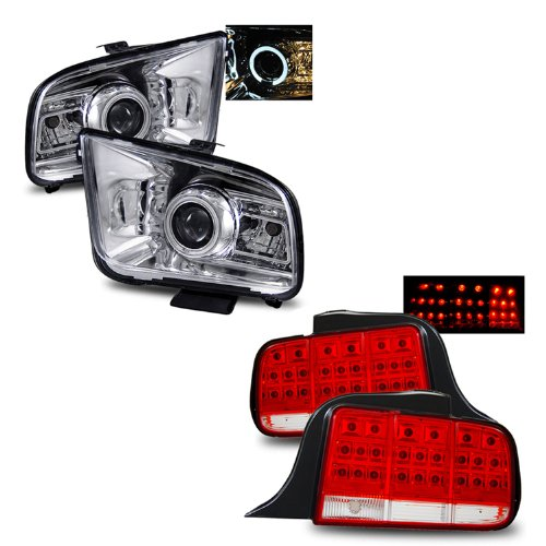 05 09 Ford Mustang Chrome LED Halo Projector Headlights (2010 Style) + LED Tail Lights Combo