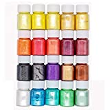 20 Colors Slime Dye Powder Mica Powder Pearl Pigments Soap Dye (0.35oz Each)- Soap Making Colorants Set Colorants for Bath Bomb, Candle Making, Cosmetic, Resin Jewelry (Color: 20 colors)