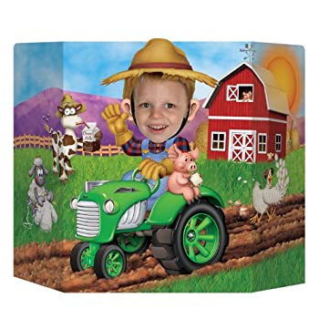 Beistle 57989 Farm Photo Prop. This would be a great addition to any farm themed birthday! Put this prop up and watch everyone have a blast taking pictures. It is very colorful and made of board stock.