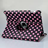 Hot Pink and Black Polka Dot Pattern PU Leather Case For iPad 2 & iPad 3 3rd Generation (the New iPad) With 360 Degrees Rotating Stand