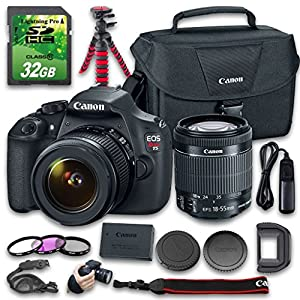 Canon EOS T5 Camera Bundle with Canon EF-S 18-55mm f/3.5-5.6 IS II Lens + 32 GB SD Card + Camera Case + Tripod