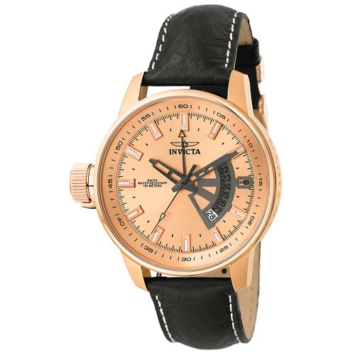 Invicta Men's 6518 Force Collection Lefty 18k Rose Gold-Plated Black Leather Watch