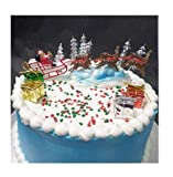 CakeSupplyShop Santa Sleigh Reindeers Christmas Holiday Trees & Presents Cake Decoration Topper