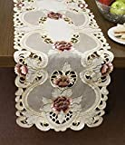 Home-X Embroidered Lace Table Runner. Pink and Burgundy Flowers with Gold Metallic Stitchery
