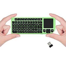 FAVI FE01 2.4GHz Wireless USB Mini Keyboard w Mouse Touchpad, Laser Pointer - US Version (Includes Warranty) - Green (FE01-GR)