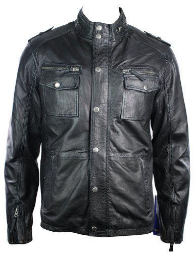 Mens Black Retro Biker Style Jacket Real Leather Washed Vintage look