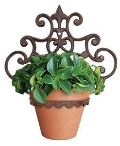 esschert design porte pot de fleurs mural rond 29 x 17 x 31 cm jardin. Black Bedroom Furniture Sets. Home Design Ideas