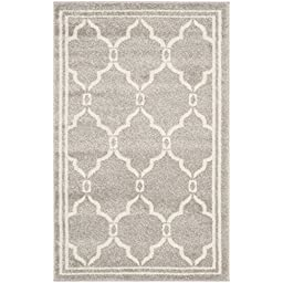 Safavieh Amherst Collection AMT414B Light Grey and Ivory Indoor/ Outdoor Area Rug, 2 feet 6 inches by 4 feet (2\'6\