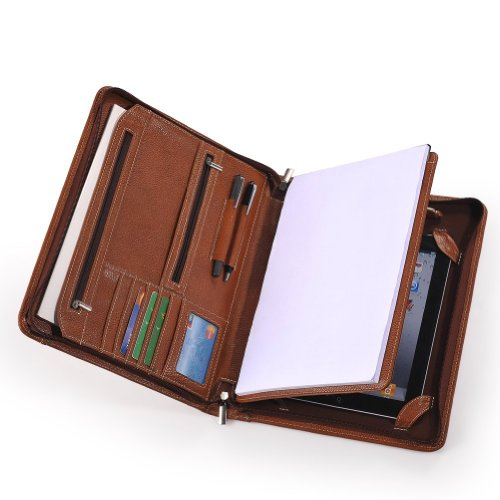 XIAOZHI Brown Leather Portfolio With Notepad Space for iPad Air Black Friday & Cyber Monday 2014