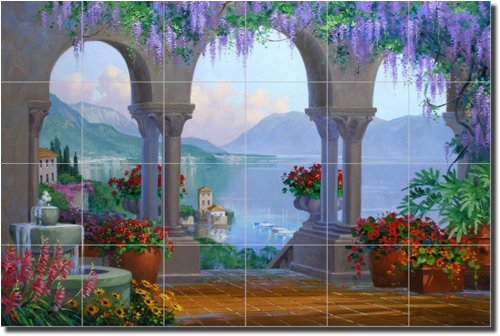 Majesty of the Mediterranean by Mikki Senkarik - Artwork On Tile Ceramic Mural 17 x 25 5 Kitchen Shower BacksplashB001D13JWG
