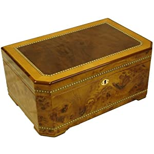 Exotic Sapple Wood Inlay Burl Cigar Humidor Lock 100ct