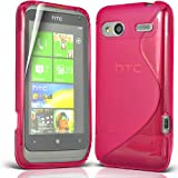 ONX3 HTC RADAR Hot Pink S Line Wave Gel Case Skin Cover + LCD SCreen Guard