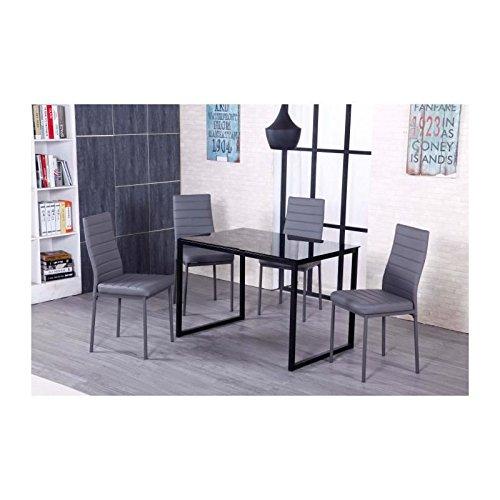 KIWI Table a manger avec plateau en verre 110x70cm noir