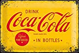 Tin Sign 20 x 30 cm - Coca Cola - Logo Yellow